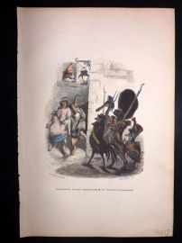 Grandville 1842 Hand Col Print. Pig & Goat with animal Soldiers